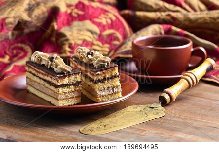 Coffee cake on a old wooden table