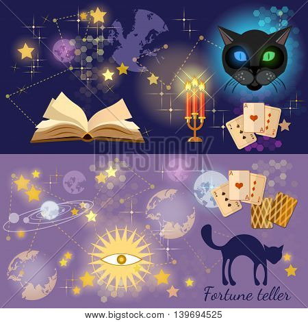 Fortune telling astrology and alchemy banners magic open book vector illustration