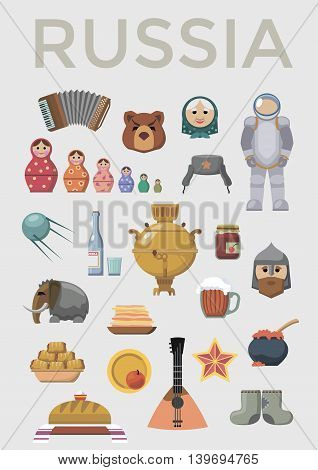 Welcome to Russia. Vector set of russian icons.