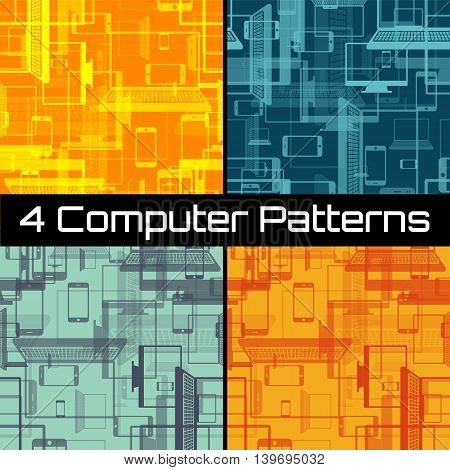 Seamless pattern with mobile phones, computers, notebooks, displays, monitors. Vector illustration.