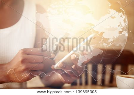 Worldwide Connection Interface. Double Exposure Of Dark-skinned Woman's Hands Holding Cell Phone And
