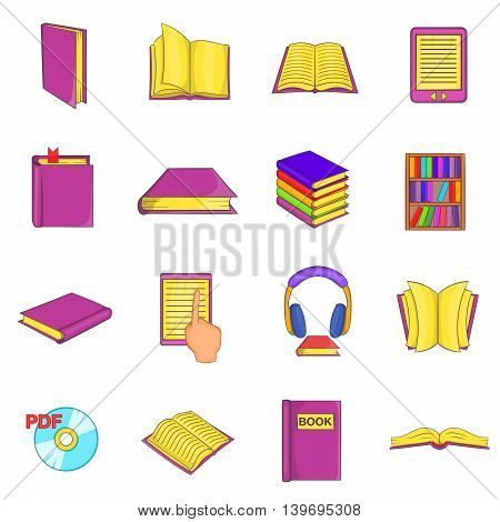Books icons set in cartoon style. Library elements set collection vector illustration