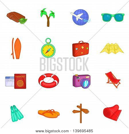 Travel icons set in cartoon style. Tourism elements set collection vector illustration