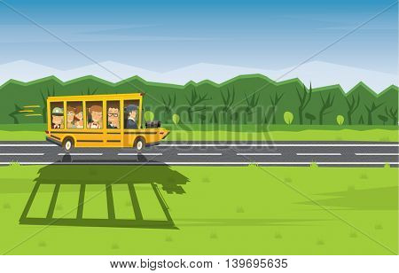 Back to School. Yellow Racing School Bus in Cartoon Style with Pupils and Copy Space.