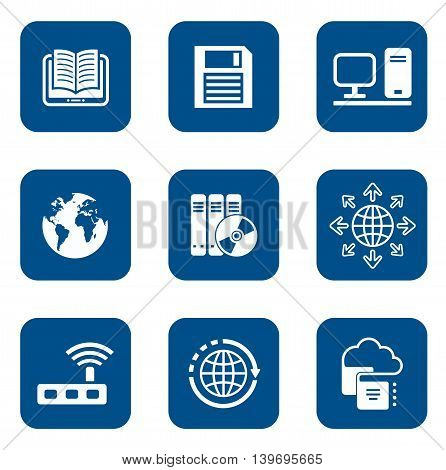 set of isolated digital blue internet icons
