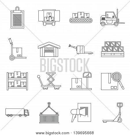 Logistic icons set in outline style. Warehouse and storage set collection vector illustration