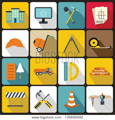 Construction icons set in flat style. Building tools set collection vector illustration
