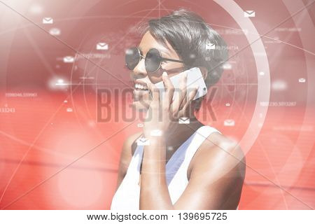 Futuristic Technology. Visual Effects. Profile Of Self-confident African Woman With Short Pixie Hair
