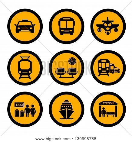 set of social transport yellow isolated round icons