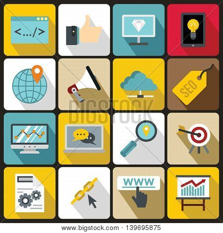 SEO icons set in flat style. Internet services set collection vector illustration