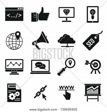 SEO icons set in simple style. Internet services set collection vector illustration