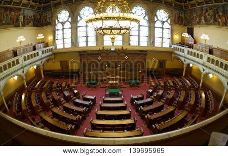 AUSTRIA, VIENNA - APRIL 10 2016: Hall of Parliament meeting in the town hall of the city of Vienna