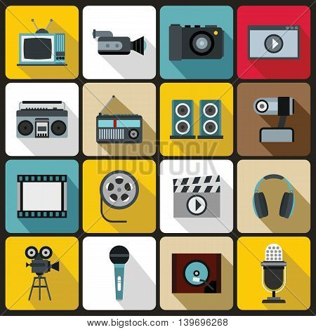 Audio and video set in flat style. Multimedia set collection vector illustration