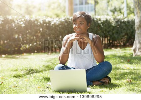 Human And Technology Concept. Charming African Woman With Short Pixie Hairstyle Enjoying Sunny Weath