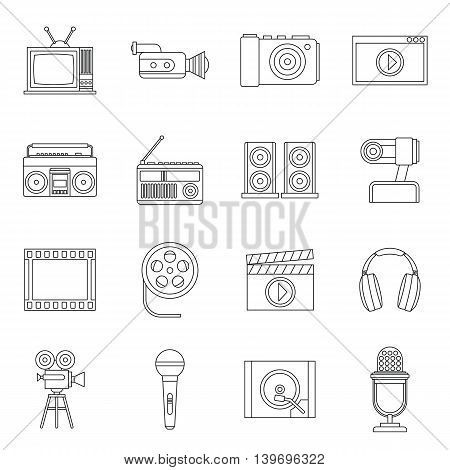 Audio and video icons set in outline style. Multimedia set collection vector illustration
