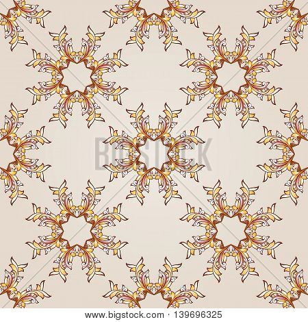 Seamless elements of brown henna on beige background