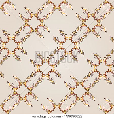 Seamless diagonal floral pattern of brown henna on beige background