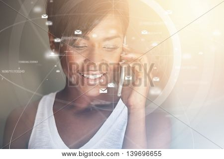 Future, Technology, Business And People Concept: Attractive Woman Having Phone Conversation Using Fu