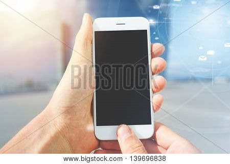 Cropped Shot Of Male Hands Holding Generic Mobile Phone With Copy Space Screen, Messaging Via Social