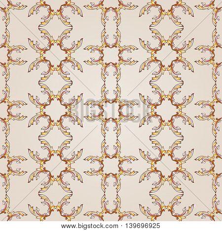 Seamless vertical pattern of brown henna on beige background