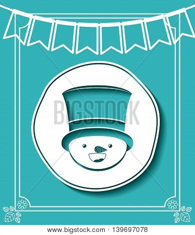 merry christmas frame with snowman isolated icon design, vector illustration  graphic