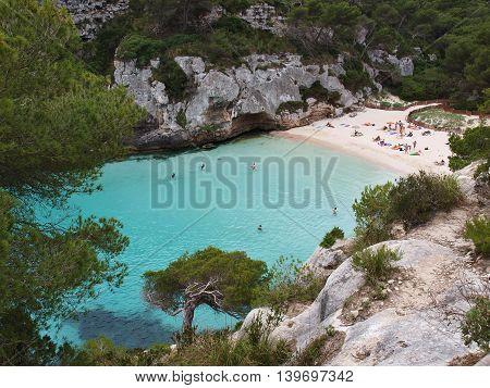 Macarelleta, small beach in Menorca, Balearic Islands