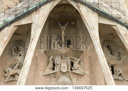 Details Of Facade Of Sagrada Familia In Barcelona, Spain. Basilica Still Under Construction, The Mas