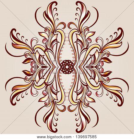 Flower pattern element of henna on beige background