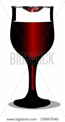 A wine glas with lipstick mark on a ruby red whitebackground