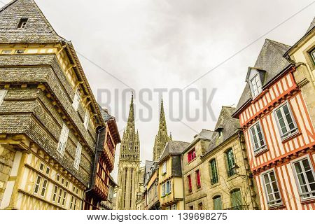 The Cathedral of Quimper and the old town, Finistere, Brittany, France