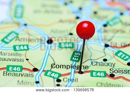 Compiegne pinned on a map of France