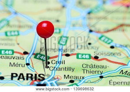 Chantilly pinned on a map of France