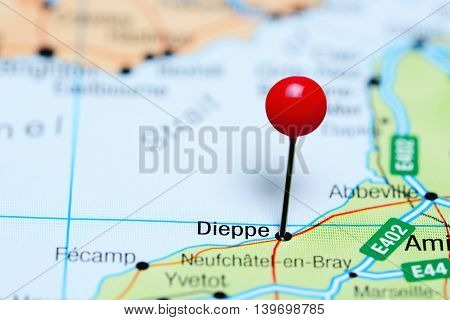 Dieppe pinned on a map of France