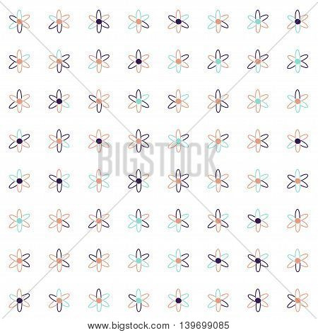 Vector hand drawn cartoon seamless pattern with atoms. Scientific theme. Retro colored atom pattern for paper textile polygraphy game web design