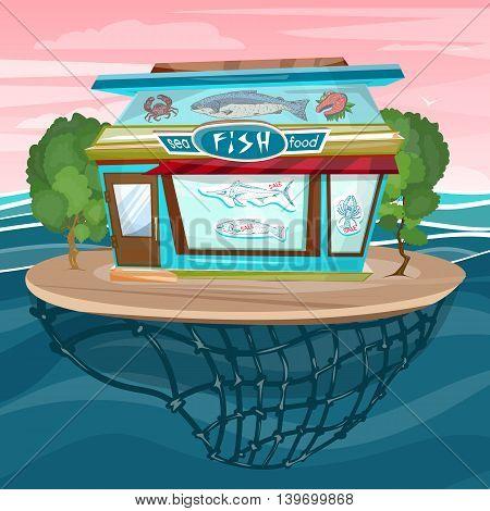 Fish shop cartoon sea food facade building vector