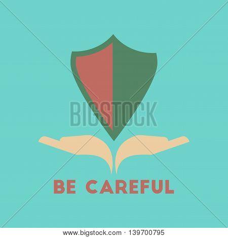 flat icon on stylish background nature be careful hand shield