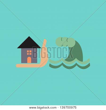 flat icon on stylish background nature flood house