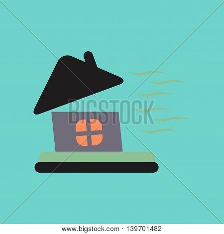flat icon on stylish background nature storm the house