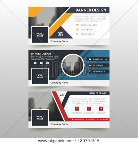 Blue orange red corporate business banner template horizontal advertising business banner layout template flat design set clean abstract cover header background for website design