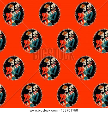 Skeleton couple in love. Dia de Muertos. Mexican tradition. Seamless background pattern. Vector illustration