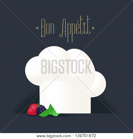 Chef hat vector illustration. White cook cap icon. Kitchen chef gastronomic uniform detail