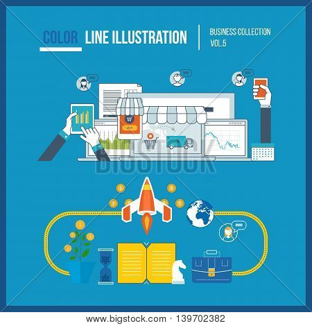 Design composition and infographics elements concept for start up business and finance strategy. Strategy for successful business. Mobile marketing and online shopping. Color line illustration