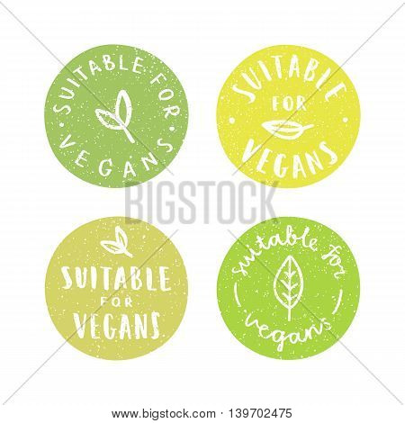 Suitable for vegans. Set of vegan hand drawn badges. Vector illustration