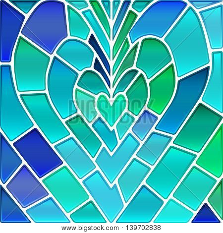 abstract vector stained-glass mosaic background - blue and green heart