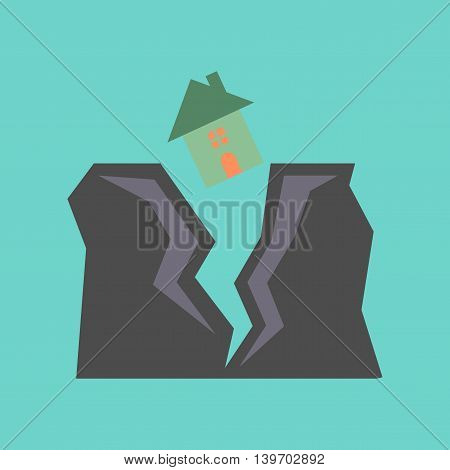 flat icon on stylish background nature house earthquake