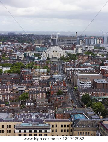LIVERPOOL, ENGLAND, JULY 2. The Metropolitan Cathedral on July 2, 2016, in Liverpool, England. An aerial look at the Metropolitan Cathedral of Christ the KIng, a Liverpool landmark.