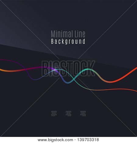 Abstract background. Wavy colorful swirly line on dark backdrop with light effects. Energy motion idea, business or techo minimal concept