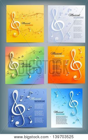 Set of musical banners with musical key and notes. Abstract background. Vector illustration.
