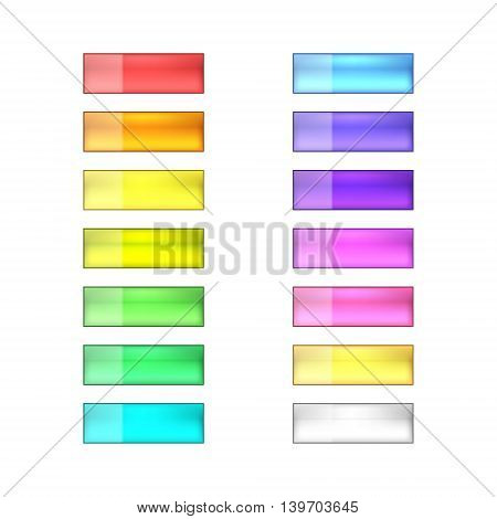 vector web buttons set - red orange yellow green blue purple violet golden and silver