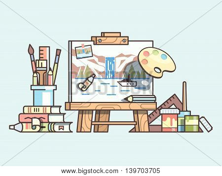 Easel and painting supplies. Art craft, brush and palette, set of tool for drawing. Vector illustration